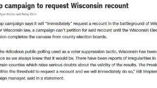 特朗普競選團隊:特朗普將要求威斯康星州重新計票